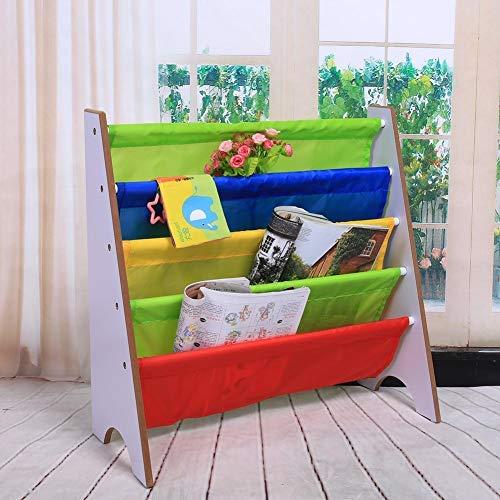 EBTOOLS Estante de Libros Periódico Revistas para Niños Revistero Infantil Estante de Almacenamiento de Jardín de Infancia Estanteria de Madera Bolsillo Multicolor(Marco Blanco)