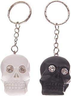 Egg n Chips London - Gruesome Black and White Skull Head Key Chain