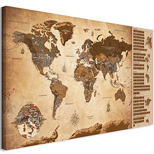 *murando Rubbelweltkarte deutsch Pinnwand 90×45 cm Vintage Weltneuheit: Weltkarte zum Rubbeln Laminiert Rubbelkarte mit Fahnen/Nationalflaggen Inkl. 50 Markierfähnchen/Pinnnadeln k-A-0251-o-c*
