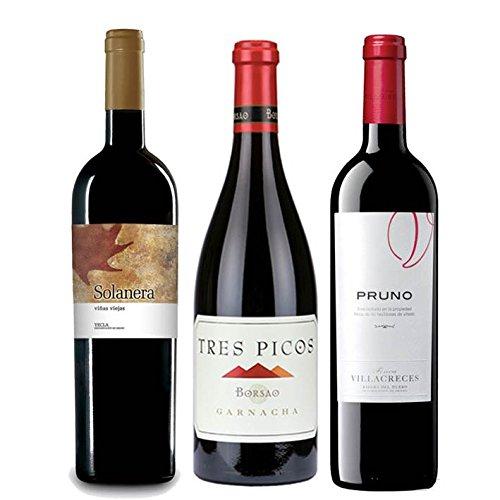 Pack Mysecretwine Mejores Vinos Españoles Value según Parker 3 botellas. 1 Solanera, 1 Pruno, y 1 Borsao Tres Pico