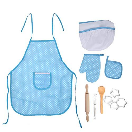 Los niños simulan cocinar juguetes, cocina juguetes de cocina juguetes de regalo para niños pequeños Disfraz de chef Juego de roles de carrera Vajilla funcional para mayores de 3 años para(Punto azul)