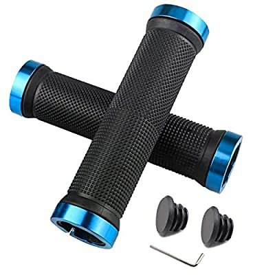 HFS CQQ Bike Handlebar Grips,Double Lock on Bicycle Handle Bar,Soft and Comfortable Rubber Handle,Suitable for Bicycle Handles of BMX, Mountain, MTB(Blue)