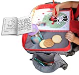 Toddler Travel Lap Tray - Kids Car Seat Travel Tray - Children Car Organizer Play Tray for Drawing and Snacks Tray. Waterproof Kids Tray, Sturdy Side, Wide Zipper Pocket. Bonus Coloring Book Included
