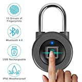 Fingerprint Padlock,AICase Bluetooth Thumbprint Lock,Support USB Charging IP67 Waterproof Smart Anti-Theft Keyless Lock Suitable for House Door,Wardrobes, Gym, Backpack, Luggage Suitcase, Bike, Office