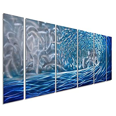 """Pure Art Blue Ocean Waves Metal Wall Art, Large Decor in Abstract Ocean Design, 3D Wall Art for Modern and Contemporary Decor, 6-Panels Measures 24""""x 65"""", Great for Indoor and Outdoor Settings by Pure Art LLC"""