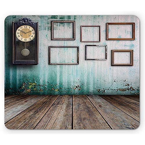 Clock Mouse Pad, Vintage Clocknd Leere Bilderrahmen Inn Alten Raum aus Holz Hintergrund drucken rutschfeste Gummi Mousepad