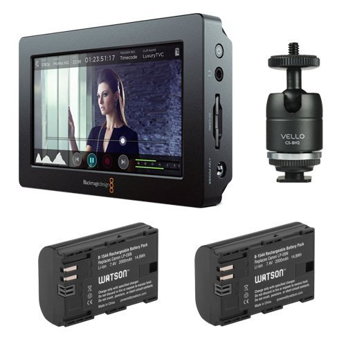 """Blackmagic Design Video Assist HDMI/6G-SDI Recorder (5"""" Monitor) with LP-E6N Lithium-Ion Battery Pack of (2) & Multi-Function Ball Bundle"""
