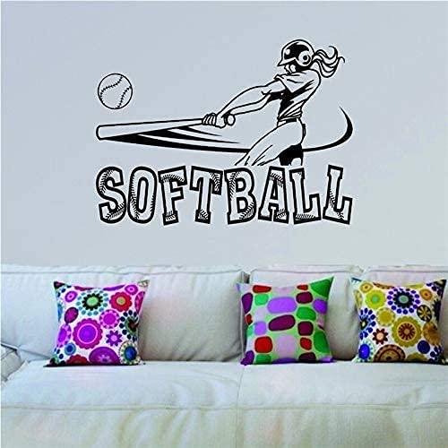 Crema Pegatinas De Pared De Guardería Softbol Swinging Sports Girls Softball Baño Decoración De La Pared Del Inodoro Etiqueta De La Pared De Vinilo 42X60Cm