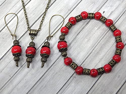 Conjunto de joyas de pulsera, pendientes y collar estilo vintage para mujer en turquesa reconstituido rojo