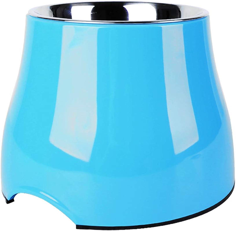 Pet bluee High Bowl Pet Bowl Dog Pot Cat Food Bowl Heightening Bowl (Size   M)