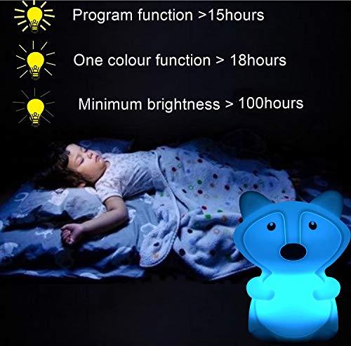 Grande taille renard Veilleuse, lampe de chevet/lampe de chambre/lampe de chambre d'enfant, anti-rupture, soins oculaires, avec télécommande/commande tactile/intensité lumineuse réglable - grande