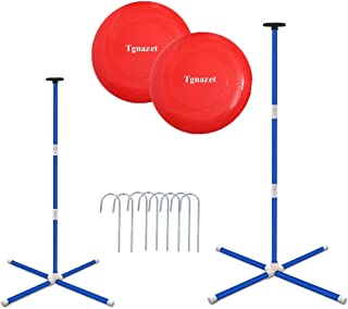 Tgnazet Outdoor Games for Family, Horseshoes Pole, Disc Toss Yard Games