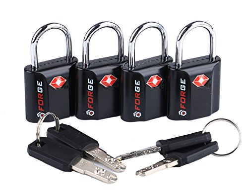 Black 4 Pack TSA Approved Travel Luggage Locks Ultra-Secure Dimple Key Travel...