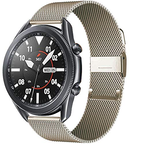 LLKHFA 20 / 22mm para Huawei Watch GT2 Pro/FIT Band para Samsung Galaxy Watch 3 45 / 41mm Cinturón de Acero Inoxidable Milanese Active 2 46 / 42mm Correa