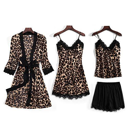 LEYUANA Conjunto de Pijama con Estampado de Leopardo para Mujer, Ropa de Dormir, Bata de Seda Artificial con Almohadilla para el Pecho, Ropa de Dormir M 01