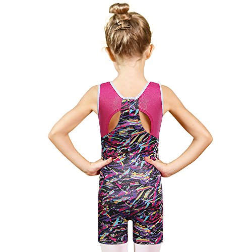 BAOHULU Toddler Girls Leotards for Gymnastics Sparkle Colorful Painted Tank Biketards 4-11Y B145_Multicolor_120