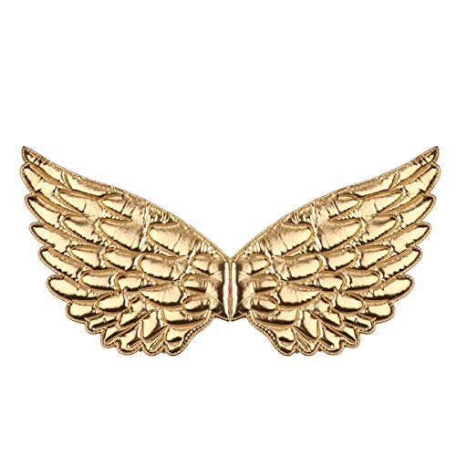 dPois Kids Angel Wings for Halloween Christmas Masquerade Fairy Cosplay Costume Photography Props Metallic Gold One Size