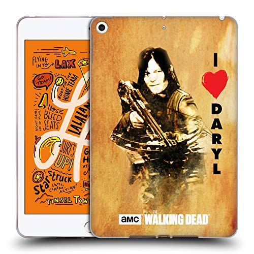 Officiële AMC The Walking Dead Liefde Daryl kruisboog Typografie Soft Gel Case Compatibel voor Apple iPad mini (2019)