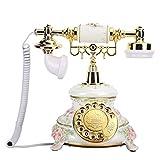 ASHATA Teléfono Fijo Retro, Esfera giratoria de Estilo Europeo Teléfonos Antiguos...