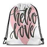 Bolsa de deporte con cordón para gimnasio, cincha de viaje, para mujeres, hombres, niños, diseño de póster con frase Hello Love Over Heart Shape Ilustración ilustración