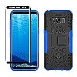 Yiakeng Funda Samsung Galaxy S8 Carcasa y Protector Pantalla, Silicona a Prueba de Choques Protector con Kickstand para Samsung Galaxy S8 (Azul)
