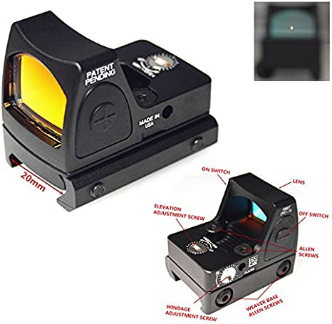 Fireclub Airsoft Rmr Style Mini Micro Red Dot Sight W Side On Off Switch Black Sport Freizeit