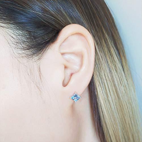 De echte sterling zilveren oorknopjes hemel Princess vrouwelijke blauwe saffier steen oorbellen fijne juwelen geschenken nieuwe