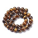 Ojo de tigre de piedras preciosas de 6 mm * A Grade * * * Piedra natural redonda Perla Collar Perla con agujero para enhebrar Joyas Piedra Gemstone Beads G68