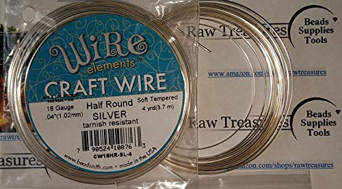 The Beadsmith 18-Gauge Half-Round Soft Copper Craft Wire for Jewelry Making, Metal Wire for Wrapping, 4 Yards, 3.6 Meters (Silver)
