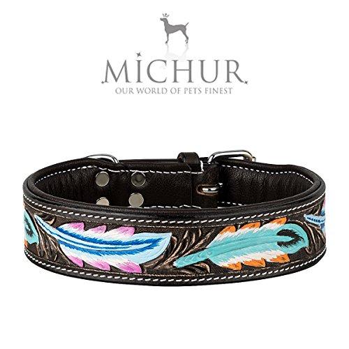 MICHUR Pietro Braun Schwarz mit Feder Muster, Hundehalsband Leder, Lederhalsband Hund, Halsband, Leder, in verschiedenen Größen erhältlich