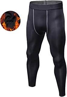 Men's Cool Dry Fleece Lined Compression Sports Tights Pants Baselayer Running Leggings Winter,Black,S