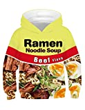 PIZOFF Ramen Noodle Beef Hoodie for Kids 3D Print Graphic Pullover Hoodie Pocket for 3-15T