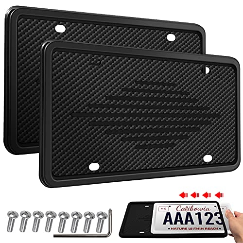 Intermerge License Plate Frames, 2 Pack Car License Plate Cover, Universal US Car Black TPU License Plate Bracket Holder. Rust-Proof, Rattle-Proof, Weather-Proof with Drainage Holes Car Accessories