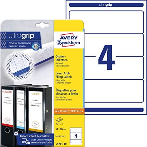 Avery Zweckform L4761-10 Ordnerrücken Etiketten (A4, 40 Rückenschilder, breit/kurz, 61 x 192 mm) 10 Blatt, weiß