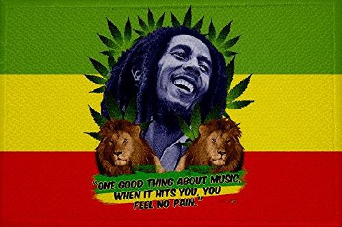 U24 Aufnäher Hanf Bob Marley Reggae Fahne Flagge Aufbügler Patch 9 x 6 cm