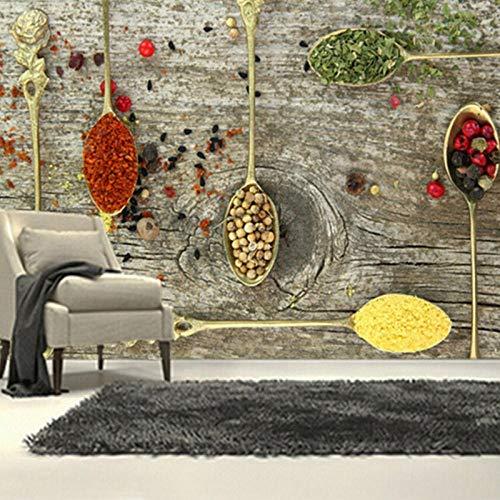 3D muurschildering behang, specerijen lepel voedsel behang restaurant keuken koffie winkel achtergrond behang 280 cm (B) x 180 cm (H)