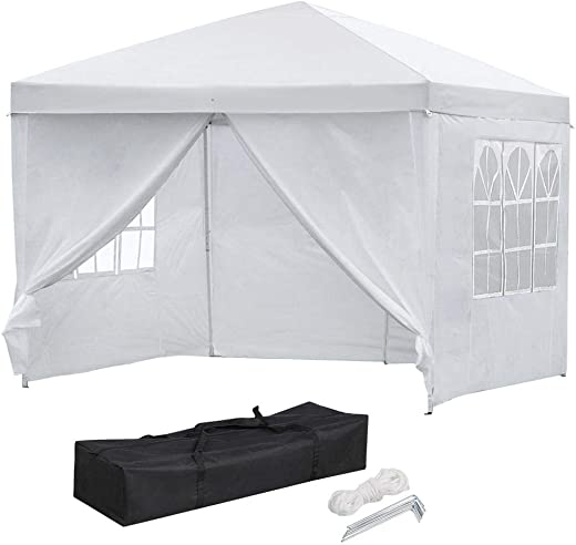 B07R82ZRGX✅Yaheetech 10×10 Pop Up Canopy Tent Folding Wedding Party Commercial Event Gazebo Pavilion Waterproof with 4 Removable Sidewalls Panels and Carry Bag