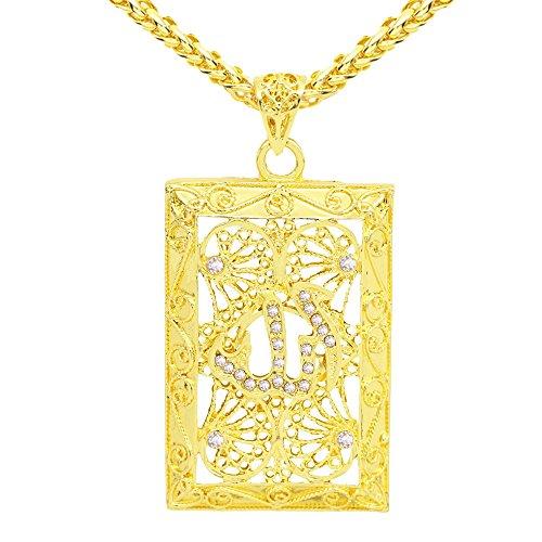 QIAMNI Collar con colgante de diamante chapado en oro de 64 cm ajustable con cadena islámica, Alá musulmán, ideal como regalo de cumpleaños