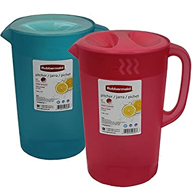 Rubbermaid rubbermaind2pk B01KU3IGYS 1 Gallon Classic Pitcher, Pack of 2 Colors, Coral-Blue, 2-Pack, Blue/Red