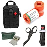 Tactical Medical Survival Tool Kit - Combat Tourniquet - Israeli Compression Bandage - Roll Up Splint - MOLLE System - IFAK - Trauma Kit - Ideal Kit for Military, EMT, Police, Firefighter and Hunting