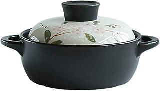 WQF Estufa de Cocina Utensilios de Cocina de cerámica Sartén para Sopa Sartén para estofado Saludable Sartén de Barro Ollas de Barro, Blanco con Tapa de Flores (Tamaño: C: 29CM * 16.5C