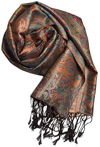 ufash Pashmina 100% Seidenschal aus Indien für Damen & Herren, Paisley Muster, 160 x 35 cm - Schal aus reiner Seide, Blau 2