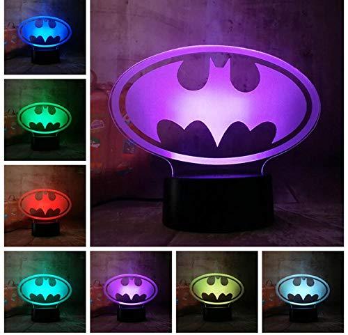 3D Illusion Nachtlicht Batman Logo LED Kinderlicht Nachttischlicht 7 Color Touch Fernbedienungslicht Weihnachtsgeburtstagsgeschenk Licht