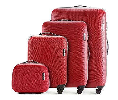 WITTCHEN Estuche de Viaje Robusto para Maleta con Ruedas, ABS Trolley rígido 4 Ruedas Cerradura de combinación Rojo