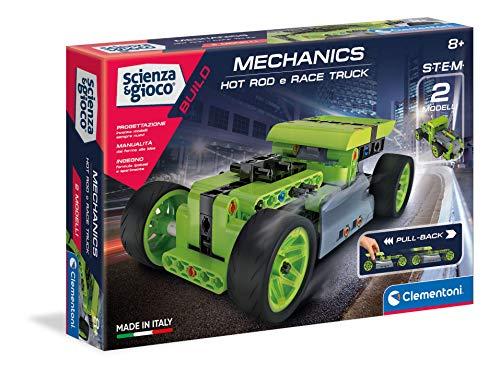 Clementoni - Ciencia Build-Hotrod y Race Truck Pullback, Juego de construcción, Laboratorio mecánico, Juego científico (versión en Italiano), niños 8 años +, Fabricado en Italia, Multicolor, 19236