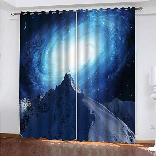 DRFQSK Cortinas Opacas para Ventanas Salon Dormitorio Infantil 3D Vía Láctea Azul Patrón Cortinas Aislantes Termicas Frio Y Calor con Ojales 132 X 214 Cm(An X Al) 2 Piezas Reduccion Ruido