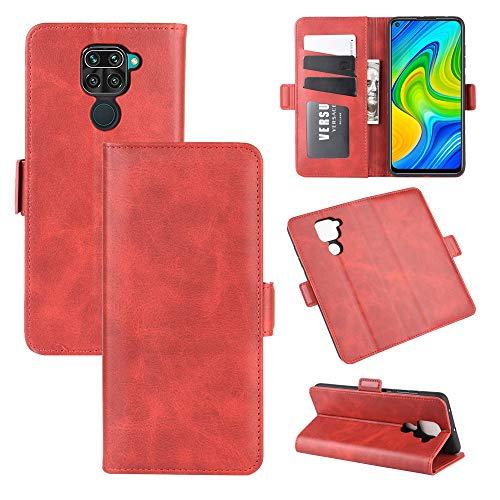 AKC Funda Compatible para Xiaomi Redmi Note 9/Redmi 10X Carcasa Caja Case con Flip Folio Funda Cuero Premium Cover Libro Cartera Magnético Caso Tarjetero y Suporte-Rojo