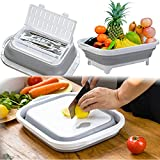 ZHZJ Collapsible Cutting Board, Multifunctional Chopping Board with Colander, Space Saving Kitchen Vegetable Washing Basket, Food Grade Camping Sink Storage Basket for Kitchen/BBQ Prep/Picnic