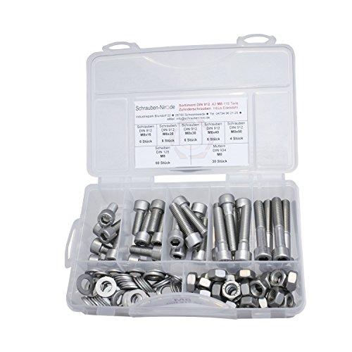 Sortiment Edelstahl V2A Zylinderschrauben innensechskant DIN 912, Muttern sechskant DIN 934 und Scheiben DIN 125, Innensechskantschrauben M8 alles in A2, VA bzw. Nirosta, 118 Teile