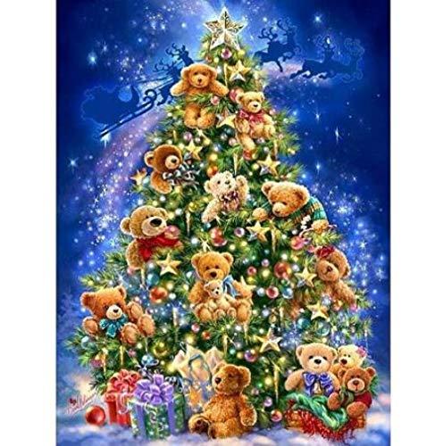 Zhonchng doe-het-zelf voorbedrukte canvas-olieverfschilderij cadeau voor volwassenen kinderen schilderen op nummer kits huis decoratie - kerstboom 40 * 50 cm met frame